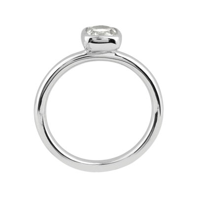 Personally Stackable Cushion-Cut Genuine White Topaz Sterling Silver Ring