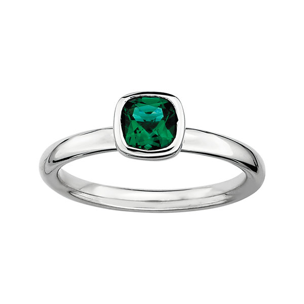 Personally Stackable Cushion-Cut Lab-Created Emerald Sterling Silver Ring