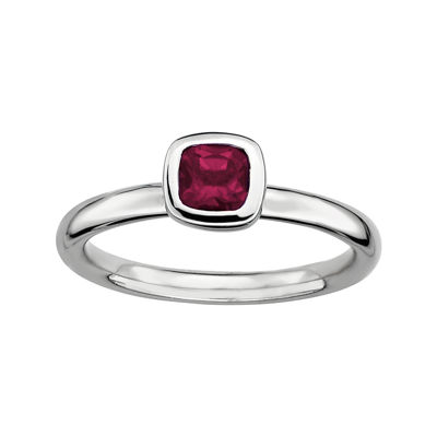 Personally Stackable Cushion-Cut Genuine Rhodolite Garnet Sterling Silver Ring