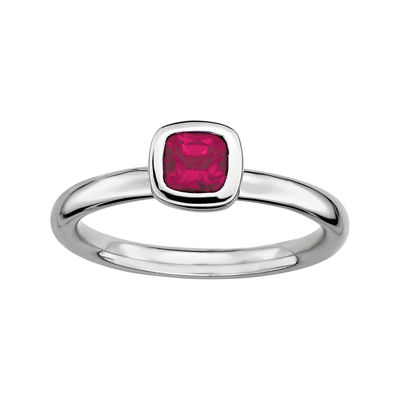 Personally Stackable Cushion-Cut Lead Glass-Filled Ruby Sterling Silver Ring