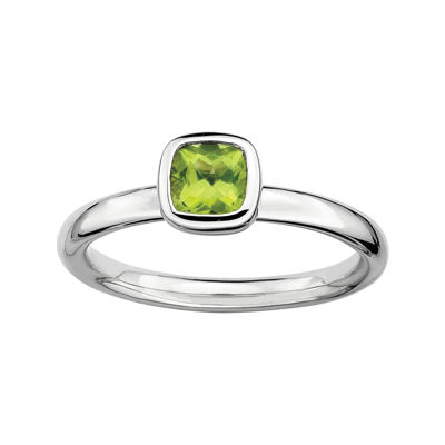 Personally Stackable Cushion-Cut Genuine Peridot Sterling Silver Ring