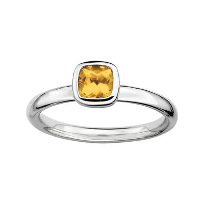 Personally Stackable Cushion-Cut Genuine Citrine Sterling Silver Ring