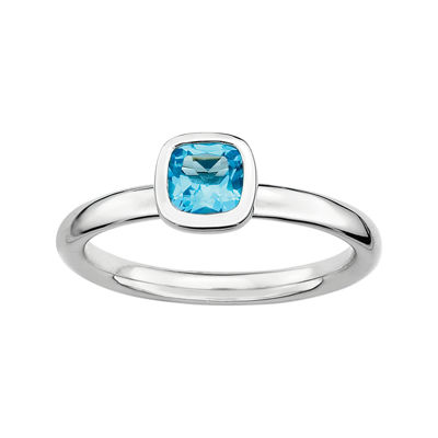 Personally Stackable Cushion-Cut Genuine Blue Topaz Sterling Silver Ring
