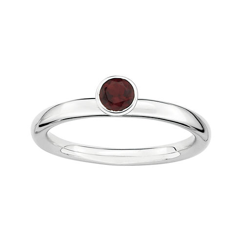 Personally Stackable Genuine Garnet Sterling Silver High Stackable Ring