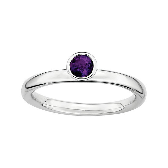Personally Stackable Genuine Amethyst Sterling Silver High Stackable Ring