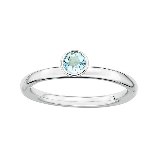 Personally Stackable Genuine Aquamarine Sterling Silver High Profile Ring