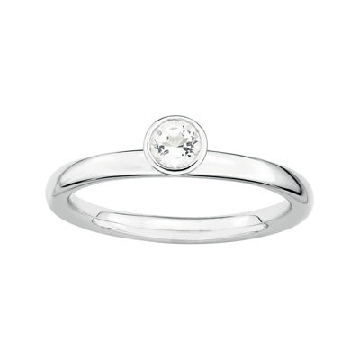 Personally Stackable Genuine White Topaz Sterling Silver High Profile Ring