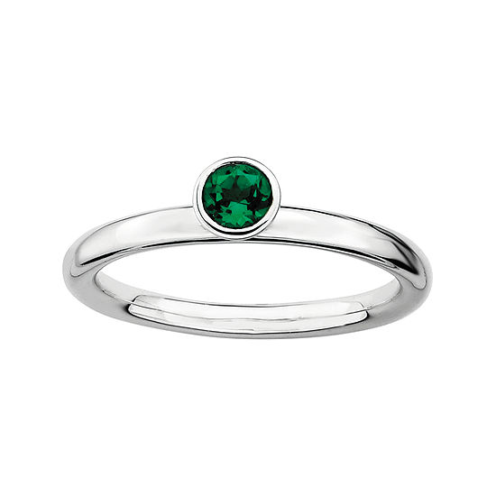 Personally Stackable Lab-Created Emerald Sterling Silver High Profile Ring