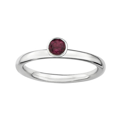 Personally Stackable Genuine Rhodolite Sterling Silver High Profile Ring