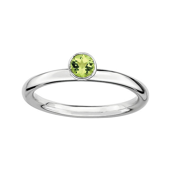 Personally Stackable Genuine Peridot Sterling Silver High Profile Ring