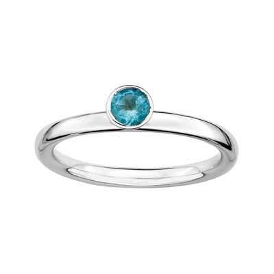 Personally Stackable Genuine Blue Topaz Sterling Silver Ring