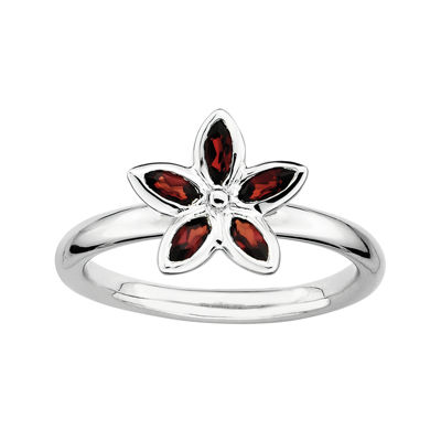 Personally Stackable Genuine Garnet Sterling Silver Flower Ring