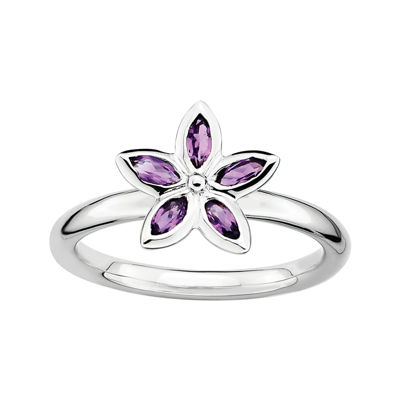 Personally Stackable Genuine Amethyst Sterling Silver Flower Ring