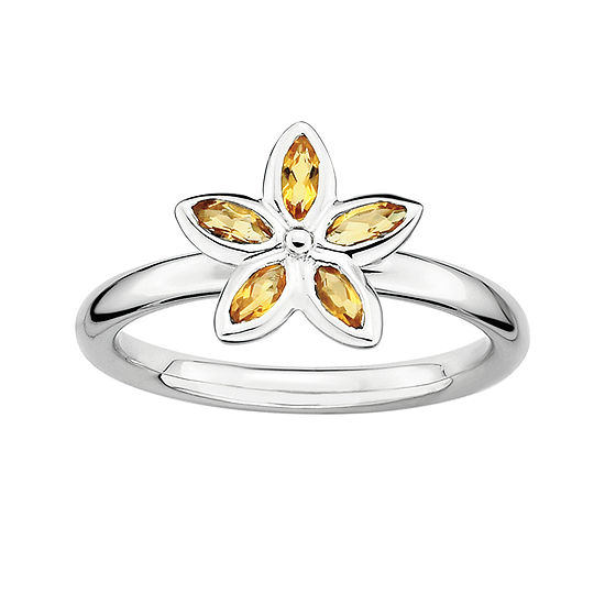Personally Stackable Genuine Citrine Sterling Silver Flower Ring