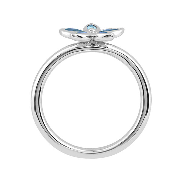 Personally Stackable Genuine Blue Topaz Sterling Silver Flower Ring