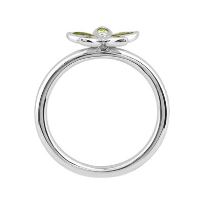 Personally Stackable Genuine Peridot Sterling Silver Flower Ring