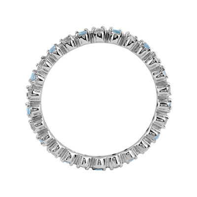 Personally Stackable Genuine Aquamarine & Diamond-Accent Eternity Ring