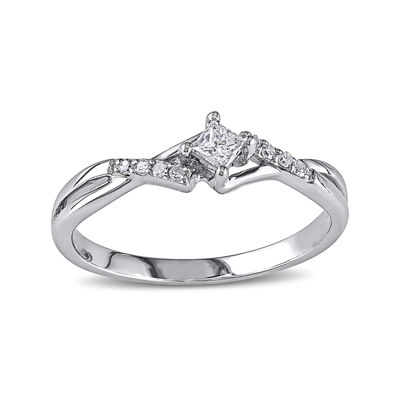 1/7 CT. T.W. Diamond 10K White Gold Twist Promise Ring