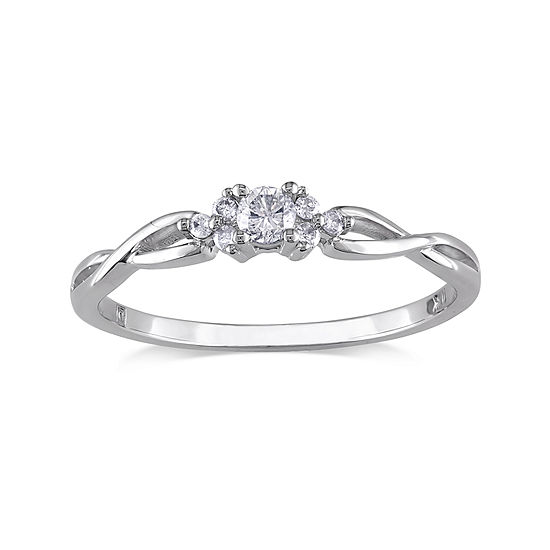 1/6 CT. T.W. Diamond 10K White Gold Twist Promise Ring