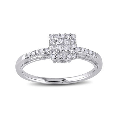 1/5 CT. T.W. Diamond 10K White Gold Quad Princess Bridal Ring