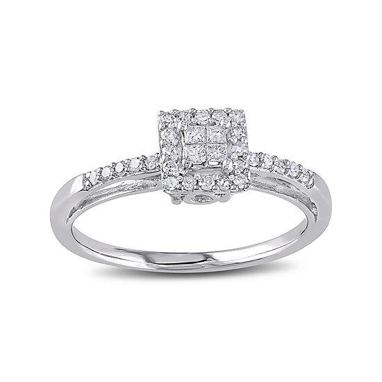 1/5 CT. T.W. Diamond 10K White Gold Quad Princess Bridal Ring