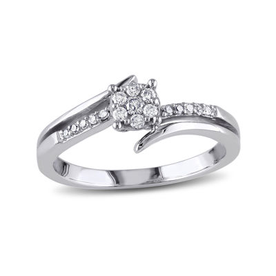 1/5 CT. T.W. Diamond 10K White Gold Cluster Bypass Promise Ring