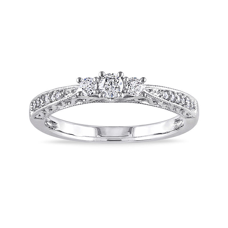 1/4 CT. T.W. Diamond 10K White Gold Vintage-Style 3-Stone Promise Ring
