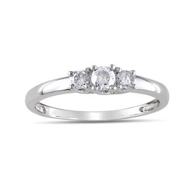 1/4 CT. T.W. Diamond 10K White Gold 3-Stone Promise Ring