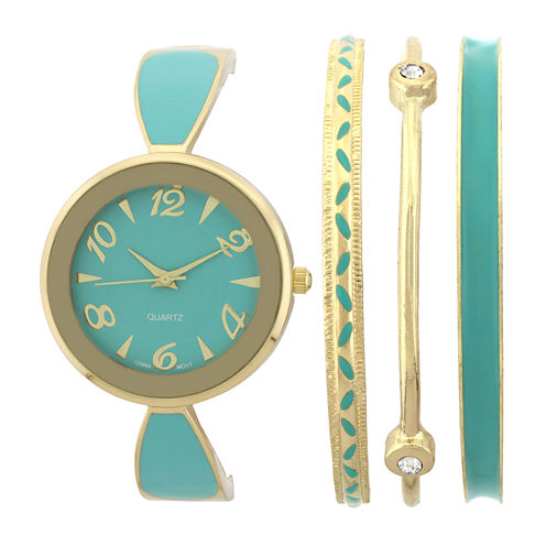 Womens Green Bangle Watch and Bracelet Set