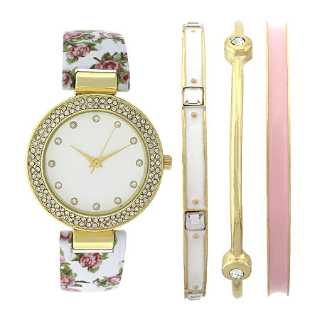 Womens Crystal-Accent White Floral Bangle Watch and Bracelet Set, One Size