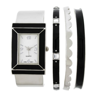 Womens Rectangular Dial Silver-Tone Bangle Watch and Bracelet Set