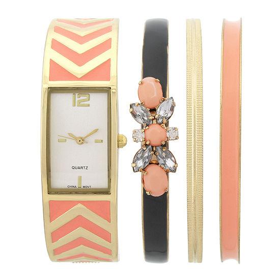 Womens Rectangular Dial Orange Bangle Watch and Bracelet Set