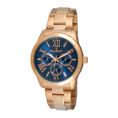Peugeot® Womens Blue Dial Rose-Tone Stainless Steel Bracelet Watch 7095NV