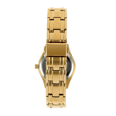 Peugeot® Womens Crystal-Accent Gold-Tone Bracelet Watch 7097G