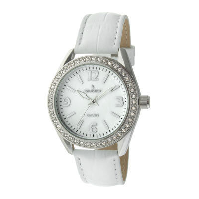Peugeot® Womens Crystal-Accent White Leather Strap Watch 3006WT