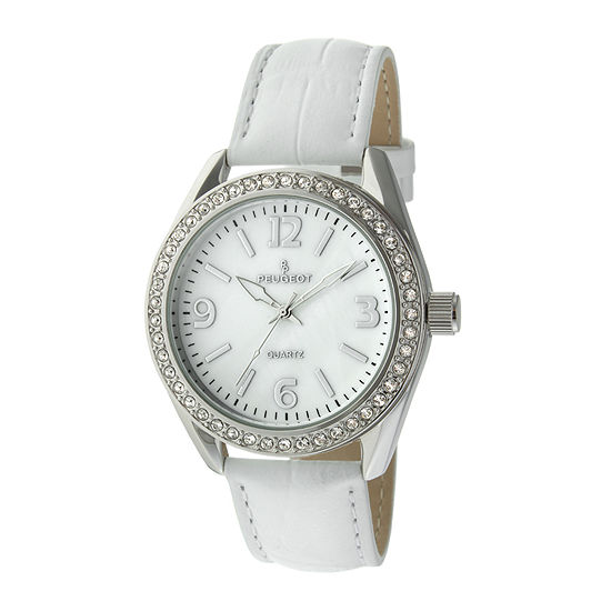 Peugeot Womens Crystal Accent White Leather Strap Watch 3006wt