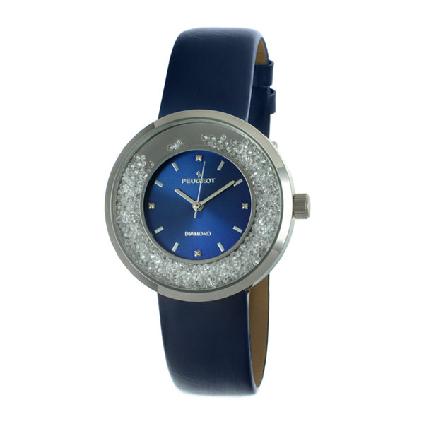 Peugeot® Womens Diamond-Accent Blue Leather Strap Watch 3041SBL
