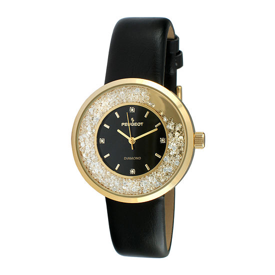 Peugeot® Womens Diamond-Accent Black Leather Strap Watch 3041GBK