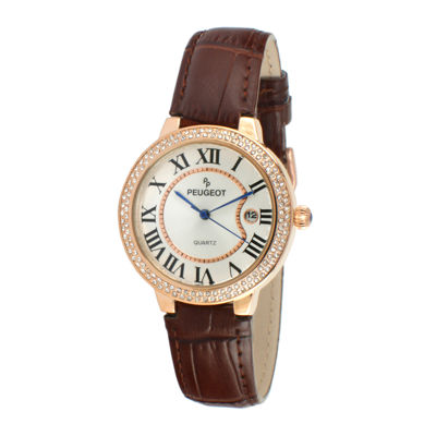 Peugeot® Womens Crystal-Accent Brown Leather Strap Watch 3043RBR