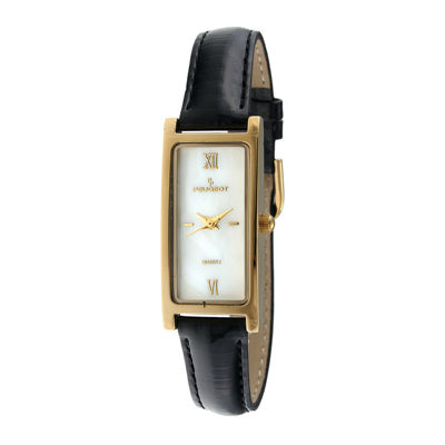 Peugeot® Womens Rectangular Black Leather Strap Slim Watch 3017BK