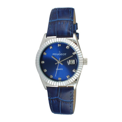Peugeot® Womens Crystal-Accent Blue Leather Strap Watch 3045BL