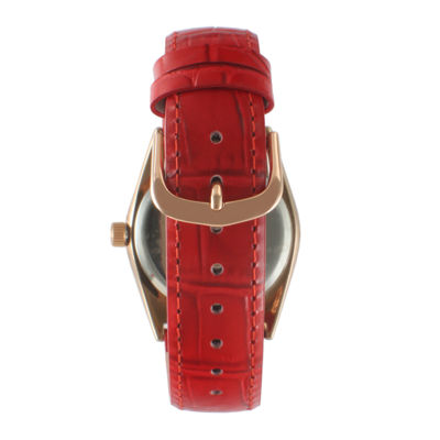 Peugeot® Womens Crystal-Accent Red Leather Strap Watch 3045RD