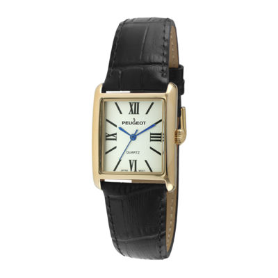 Peugeot® Womens Square Black Leather Strap Watch 3036BK