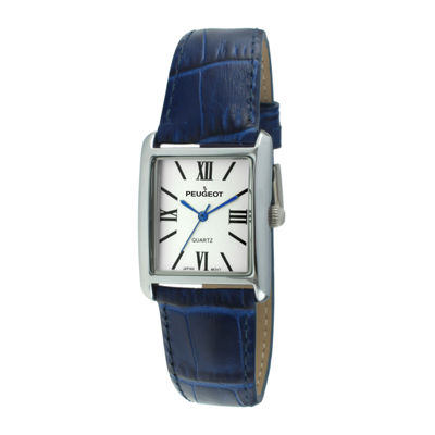 Peugeot® Womens Square Blue Leather Strap Watch 3036BL