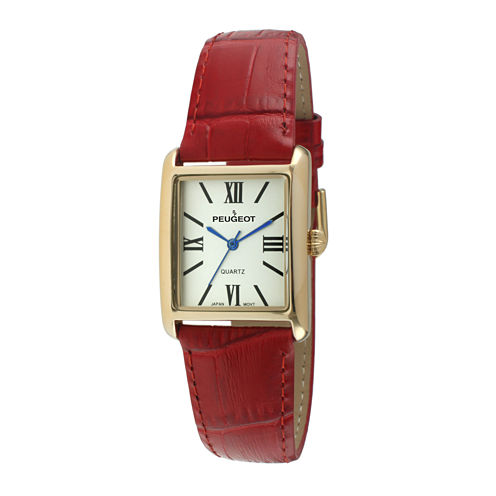 Peugeot® Womens Square Red Leather Strap Watch 3036RD