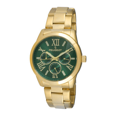 Peugeot® Womens Green Dial Gold-Tone Stainless Steel Bracelet Watch 7095GR