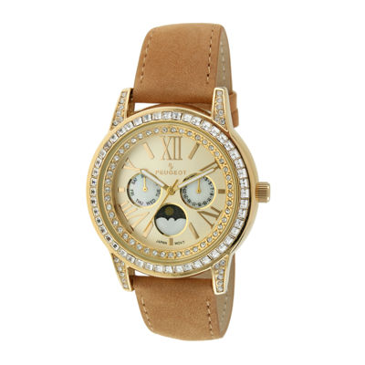 Peugeot® Womens Crystal-Accent Brown Leather Strap Moon Phase Watch 3031G