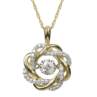 Love in Motion™ 1/4 CT. T.W. Diamond 10K Yellow Gold Pendant Necklace
