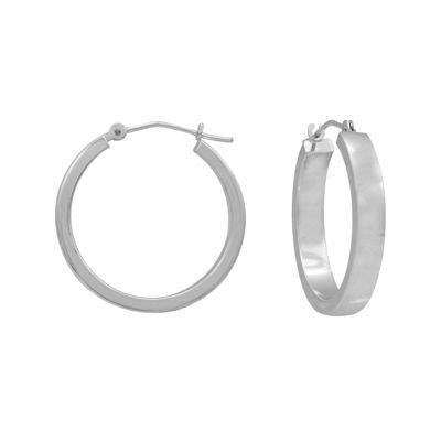 14K White Gold 25mm Square Hoop Earrings