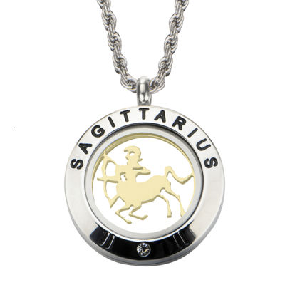 Sagittarius Zodiac Reversible Two-Tone Stainless Steel Locket Pendant Necklace